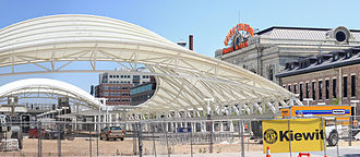Denver Union Station - The open air train hall and the historic terminal building, 2014