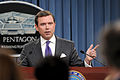 Department of Defense Press Secretary Geoff Morrell holds a press briefing at the Pentagon in Arlington, Va., Sept 100909-D-WQ296-007.jpg