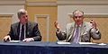 Department of Transportation (DOT) Secretary Ray LaHood, raises his hand after signing the Memorandum of Understanding (MOU).jpg