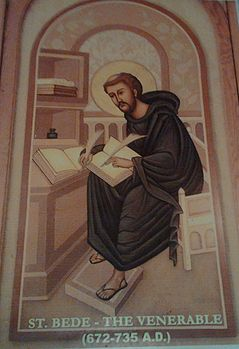 Depiction of St. Bede the Venerable (at St. Bede's school, Chennai) - Image has been cropped for better presentation.jpg