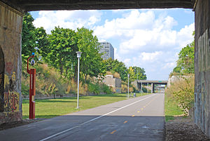 Detroit International Riverfront - Dequindre Cut Greenway looking north.