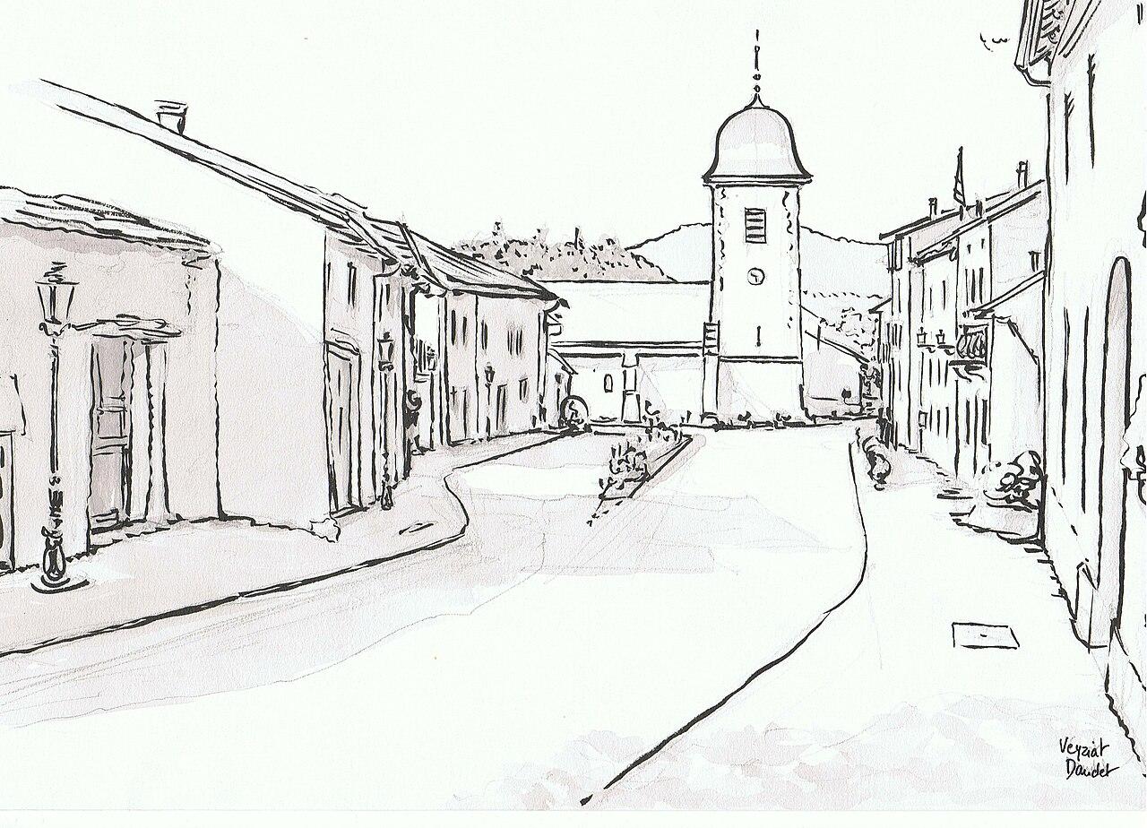File dessin du village de veyziat par - Dessin village ...