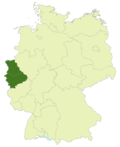 Map of Germany: Area of Oberliga Nordrhein highlighted