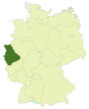 Oberliga Nordrhein - Map of Germany: Area of Oberliga Nordrhein highlighted