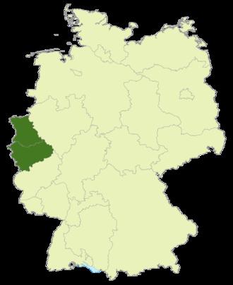 Oberliga Nordrhein - Map of Germany: Area of Oberliga Nordrhein highlighted