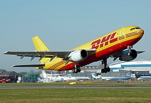 Cargo airline - European Air Transport (EAT) Airbus A300B4F. EAT is a subsidiary of DHL Aviation, one of the world's largest cargo airline companies.