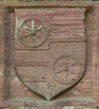 Diether von Isenburg - Coat of arms of Diether von Isenburg as a relief at the city walls of Höchst