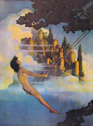 Maxfield Parrish - The Dinky Bird, an illustration from Poems of Childhood by Eugene Field (1904), exemplifies Parrish's characteristic use of androgynous figures.