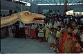 Diplodocus with Visitors - Dinosaurs Alive Exhibition - Science City - Calcutta 1995-June-July 560.JPG