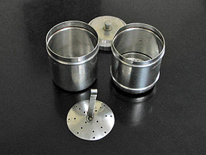 Indian filter coffee - Metal South Indian coffee filter disassembled