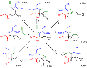 Divergent synthesis - Short Synthesis of Skeletally and Stereochemically Diverse Small Molecules by Coupling Petasis Condensation Reactions to Cyclization Reactions