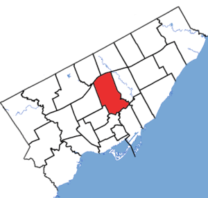 Don Valley West - Don Valley West in relation to other electoral districts in Toronto (2015 boundaries)