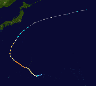 1950 Pacific typhoon season - Image: Doris 1950 track