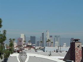 Bunker Hill, secteur de downtown Los Angeles,vu depuis l'USC