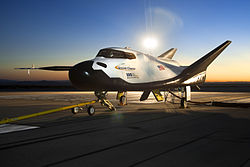 A Dream Chaser vehicle undergoing tow tests at Edwards Air Force Base