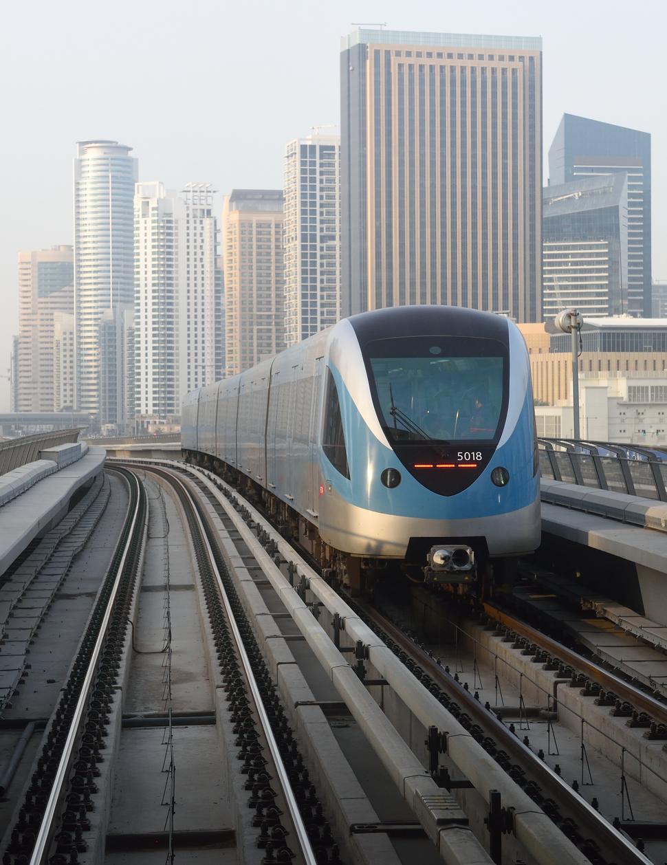 Dubai Metro photographed from Dubai Marina station in Dubai United Arab Emirages