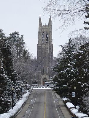 Duke University Chapel in snow.