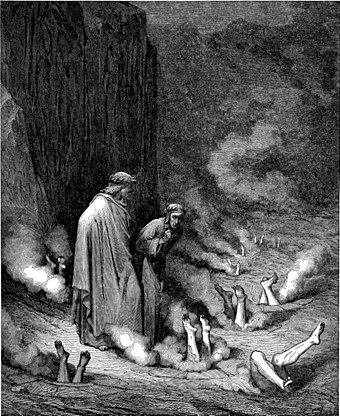 Dante speaks to Pope Nicholas III, committed to the Inferno for his simony, in Gustave Dore's 1861 wood engraving (portrait of the Third Bolgia of the Eighth Circle of Hell). DvinfernoPopeNicholasIII m.jpg