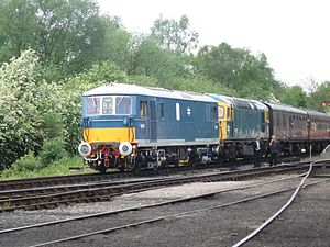 Multiple working - A Class 73 and a Class 33 locomotive being coupled for multiple working