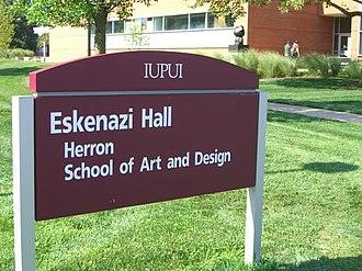 Herron School of Art and Design - IUPUI campus sign for Herron School of Art and Design.