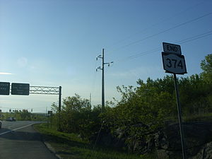 New York State Route 374 - Eastbound terminus of NY 374 at NY 22 in Plattsburgh