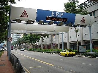 Road pricing - Electronic Road Pricing Gantry at North Bridge Road, Singapore