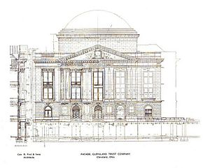 Cleveland Trust Company Building - Architectural drawing of the E. 9th Street facade of the building.