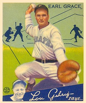 English: 1934 Goudey baseball card of Earl Gra...