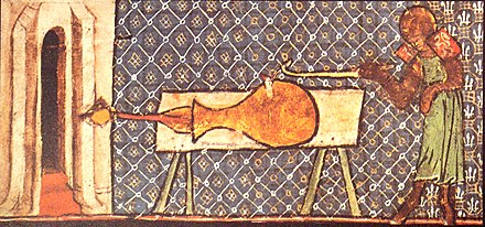 "Earliest depiction of a European cannon, ""De Nobilitatibus Sapientii Et Prudentiis Regum"", Walter de Milemete, 1326. EarlyCannonDeNobilitatibusSapientiiEtPrudentiisRegumManuscriptWalterdeMilemete1326.jpg"