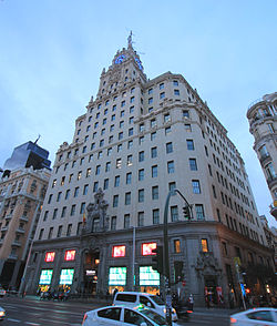 Telefónica's flagship and former headquarters on Gran Vía in Madrid