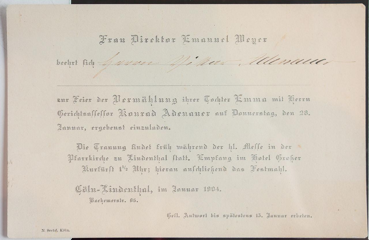 File einladung hochzeit emma weyer konrad adenauer wikimedia commons - Hochzeitseinladung text modern ...