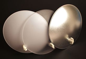 Beauty dish - Deflectors in white, clear, and silver