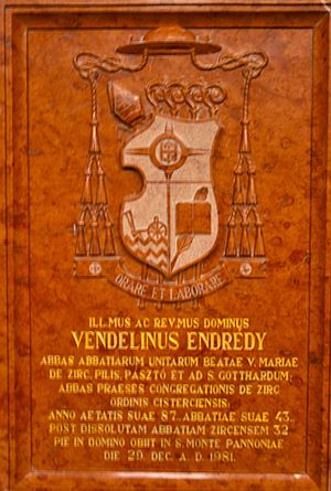 Vendel Endrédy - The commemorative plaque in Zirc Abbey.
