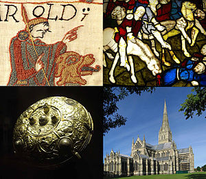 England in the Middle Ages - Clockwise, from top left: Detail of the 11th-century Bayeux Tapestry, showing Harold Godwinson; 15th-century stained glass from York Minster, showing a scene from the Apocalypse; Salisbury Cathedral, built in the 13th century; the 9th-century Ormside Bowl