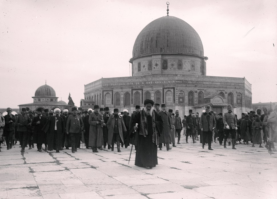 Enver Pasha and Jamal (Cemal) Pasha visiting the Dome of the Rock