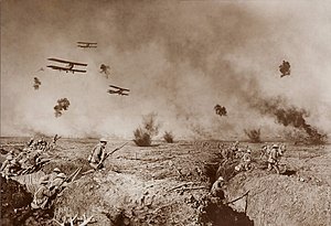 Photo manipulation - Vintage manipulated photo of World War I battle action including details combined from multiple photos.
