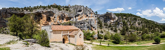 Hermitage of St Bartholomew, Canyon of the Lobos River Natural Park, Soria, Spain.