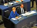 Erstmals seit 26 Jahren sind am 07.10.2015 die Staats- und Regierungschefs von Deutschland Angela Merkel und Frankreichs François Hollande , gemeinsam im Europaparlament aufgetreten. Hauptthema, die Flüchtlingskrise - panoramio.jpg