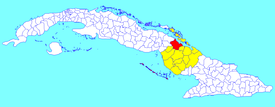 Esmeralda municipality (red) within Camagüey Province (yellow) and Cuba