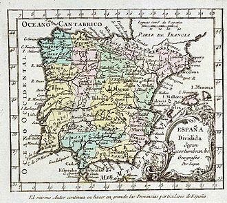 Nationalities and regions of Spain - Map of Spain in 1757