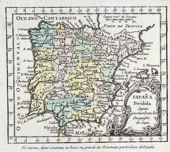 1757年のイベリアの地図