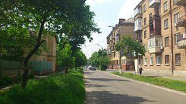 Вулиця м київ на задньому плані вулиця