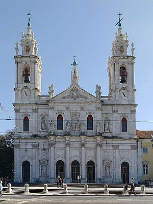 Estrela Basilica - Main façade of the basilica dedicated to the Sacred Heart of Jesus situated in Lisbon, Portugal.