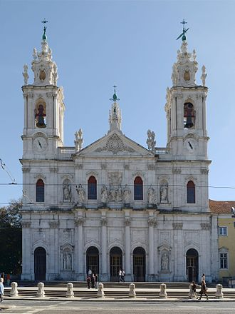 Estrela Basilica - Main façade of the basilica dedicated to the Sacred Heart of Jesus situated in Lisbon, Portugal.