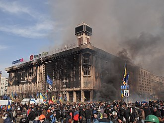 2014 in Europe - Labor Unions' House, used as Euromaidan headquarters, on fire following police raid