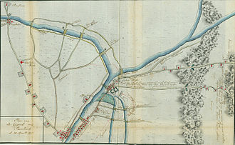 Battle of Bound Brook - Map by Johann Ewald depicting the Bound Brook area and the plan of attack.  New Brunswick is at the bottom, and the Bound Brook outpost at the center. British movements are drawn in red.
