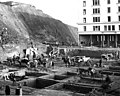 Excavating the foundation for the new Washington Hotel at 2nd Ave and Stewart St, November 26, 1906 (SEATTLE 1273).jpg