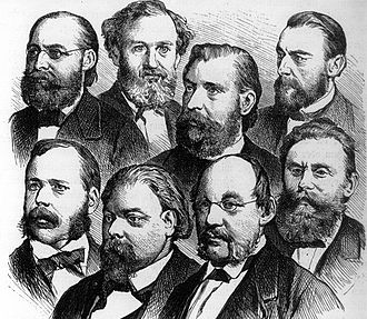National Liberal Party (Germany) - Leading politicians of the National Liberal Party from left to right: Wilhelm Wehrenpfennig, Eduard Lasker, Heinrich von Treitschke and Johannes von Miquel; bottom row from left to right: Franz von Roggenbach, Karl Braun, Rudolf Gneist and Ludwig Bamberger (woodcut c. 1878)