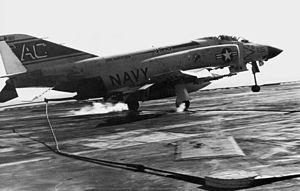 F-4J VF-31 catching wire on USS Saratoga (CVA-60) 1970.jpg