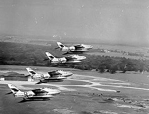 108th Wing - F-84Fs from the 7108th Tactical Wing (108th TFW) in formation over Chaumont-Semoutiers Air Base, France – 1962.